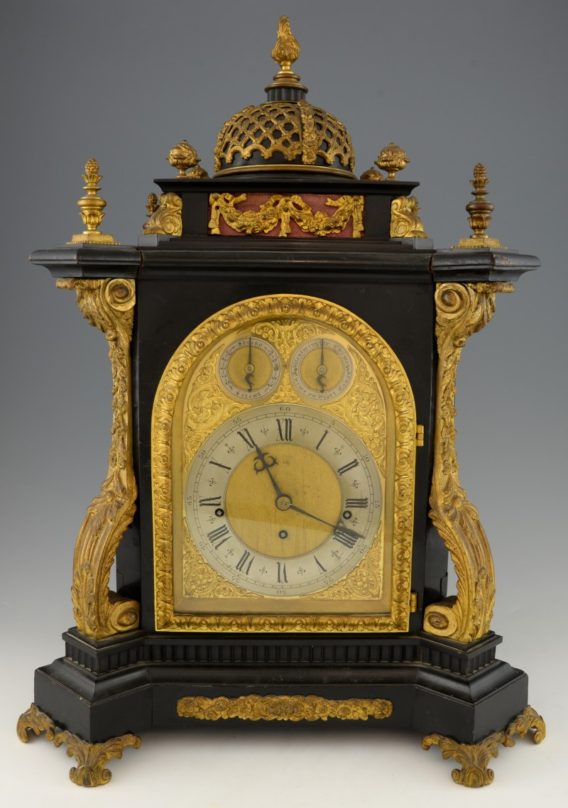 An early 19th century ebonised three train fusee bracket clock, sold for £2,540
