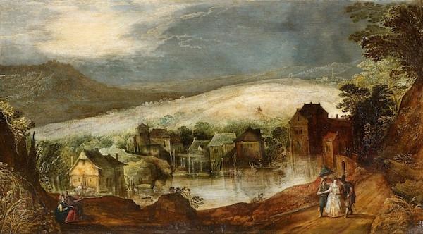 Josse de Momper (1564 Antwerpen - 1635 Antwerpen) - Kvällslandskap med ett älskande par och en vandrare, olja, 44,5 x 80,5 cm.