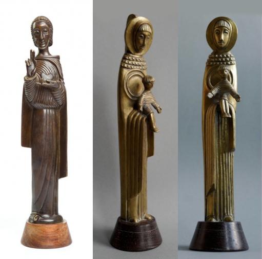 Gauche : « La bénédiction du Christ », image ©desa.pl / Centre et droite : « Madonna et enfant », image ©artinfo.pl