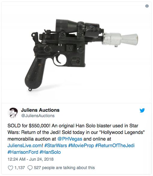 Annonce de Julien's Auctions sur Twitter