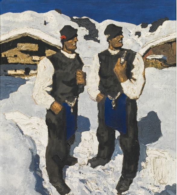 ALFONS WALDE (Oberndorf 1891 - 1958 Kitzbühel) - Bauernsonntag, Öl/Lwd., 71,5x62,5 cm, betitelt und signiert, um 1930 Schätzpreis: 250.000-500.000 EUR