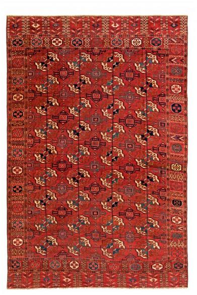 Tekke Hauptteppich, Wolle, 283 x 187 cm, Turkmenistan, erste Hälfte 19. Jhdt. Schätzpreis: 20.000 - 26.000 EUR