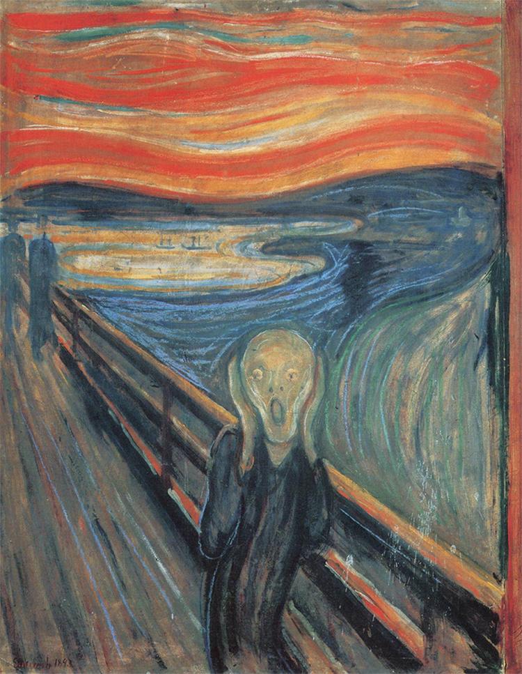Skriet (Skrik, runt 1893), Edvard Munch.