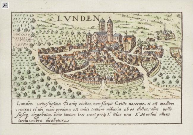 """Kolorerat kopparstick föreställande karta över Lund, """"Lunden"""". Valegio efter Braun-Hogenberg, från omkring 1600. Bilden visar Lunds utseende omkring 1585. Ropas ut 1 000 kronor på Crafoord auktioner"""