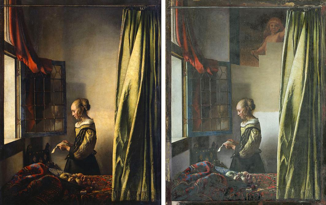 Johannes Vermeer, La liseuse à la fenêtre, vers 1657, Staatliche Kunstammlungen, Dresde : avant et après restauration (en cours) © SKD, image : Klut / Estel et © SKD, image : Wolfgang Kreische