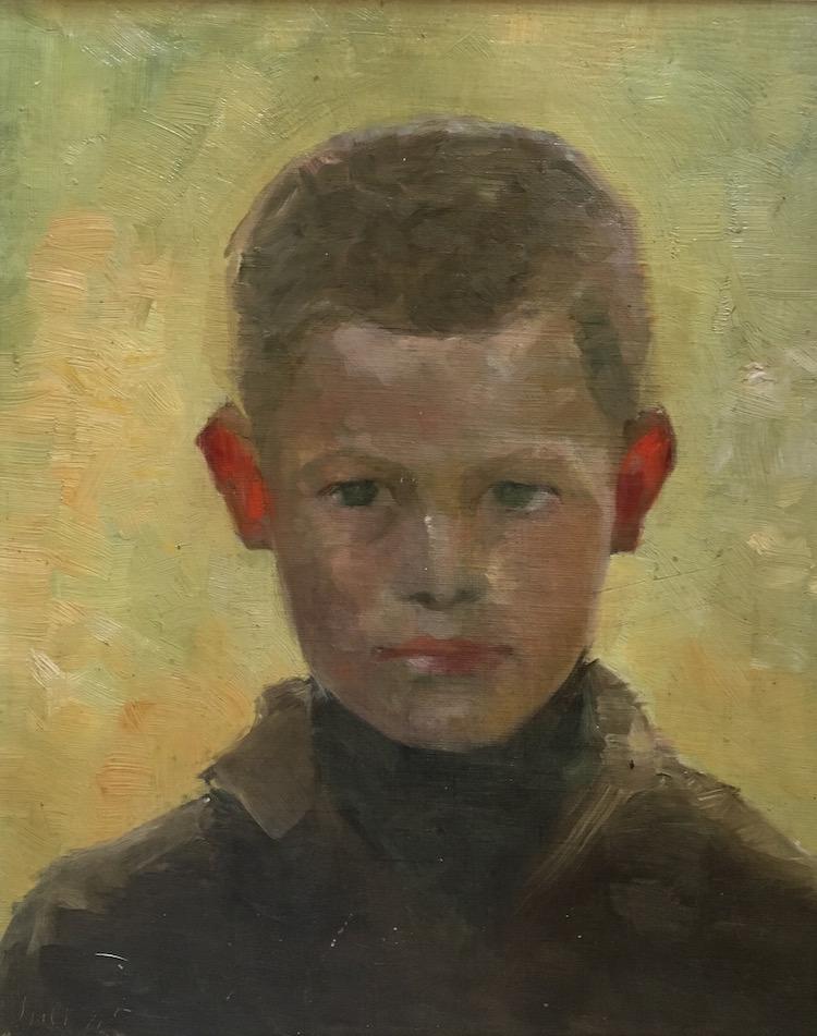 Pojke med röda öron, daterad juli 1885, oljemålning av Marie Krøyer.