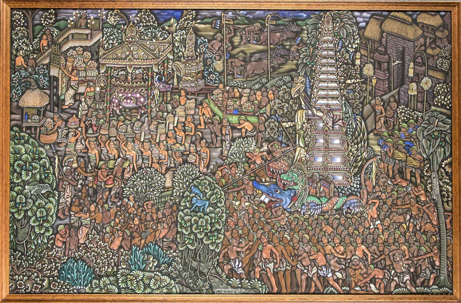 IDA BAGUS MADE TOGOG (1913-1989) - Vielfigurige Darstellung einer religiösen Zeremonie, Tempera/Lwd., bezeichnet und signiert