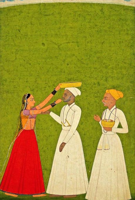 Peinture miniature représentant deux nobles recevant un rituel religieux Aquarelle sur papier Ecole Mughal, 18e siècle En vente chez Roseberys