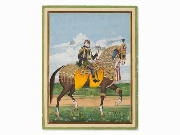 Miniature, Maharaja Sawai Ram Singh II de Jaipur, vers 1870