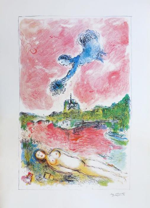 Marc Chagall, « Les amoureux de Notre-Dame », lithographie avec cachet signature en bas à droite, 1980-1989