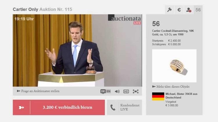 Screenshot einer Live-Stream Auktion bei Auctionata. Quelle: You Tube