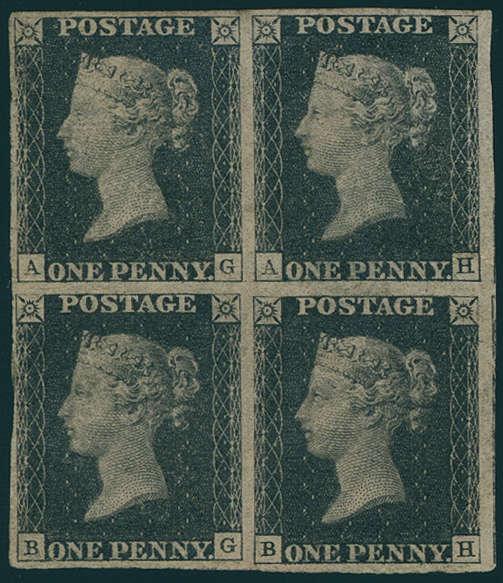 Großbritannien - One Penny schwarz, Platte V, Viererblock