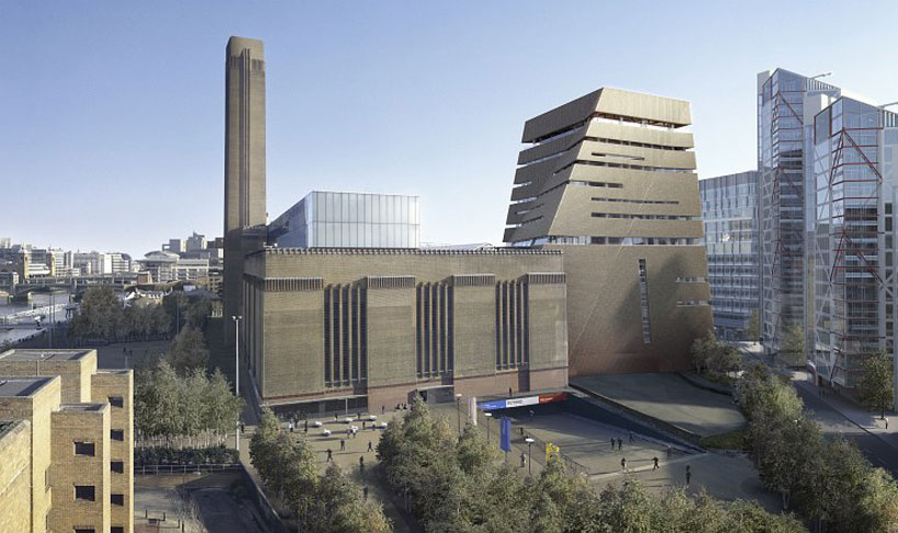 La vue de l'ouest du bâtiment Omage © hayes davidson et herzog & de meuron  Image courtesy de la Tate Modern