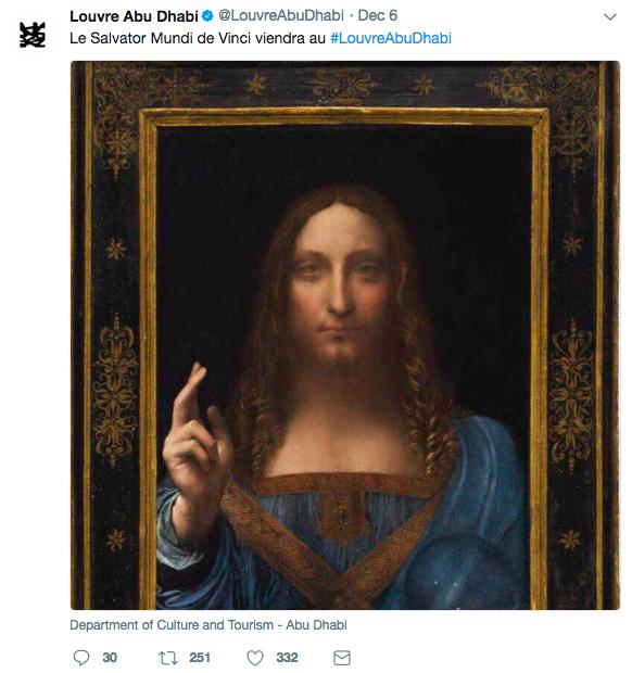 Le Louvre Abou Dhabi a annoncé sur Twitter l'arrivée du Salvator Mundi Image via Twitter @LouvreAbuDhabi