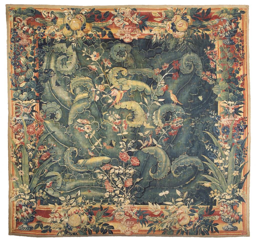"Flämischer Wandteppich ""Feuilles de choux"", 312 x 326 cm, Grammont 1550-1600 Schätzpreis: 38.000-48.000 EUR"