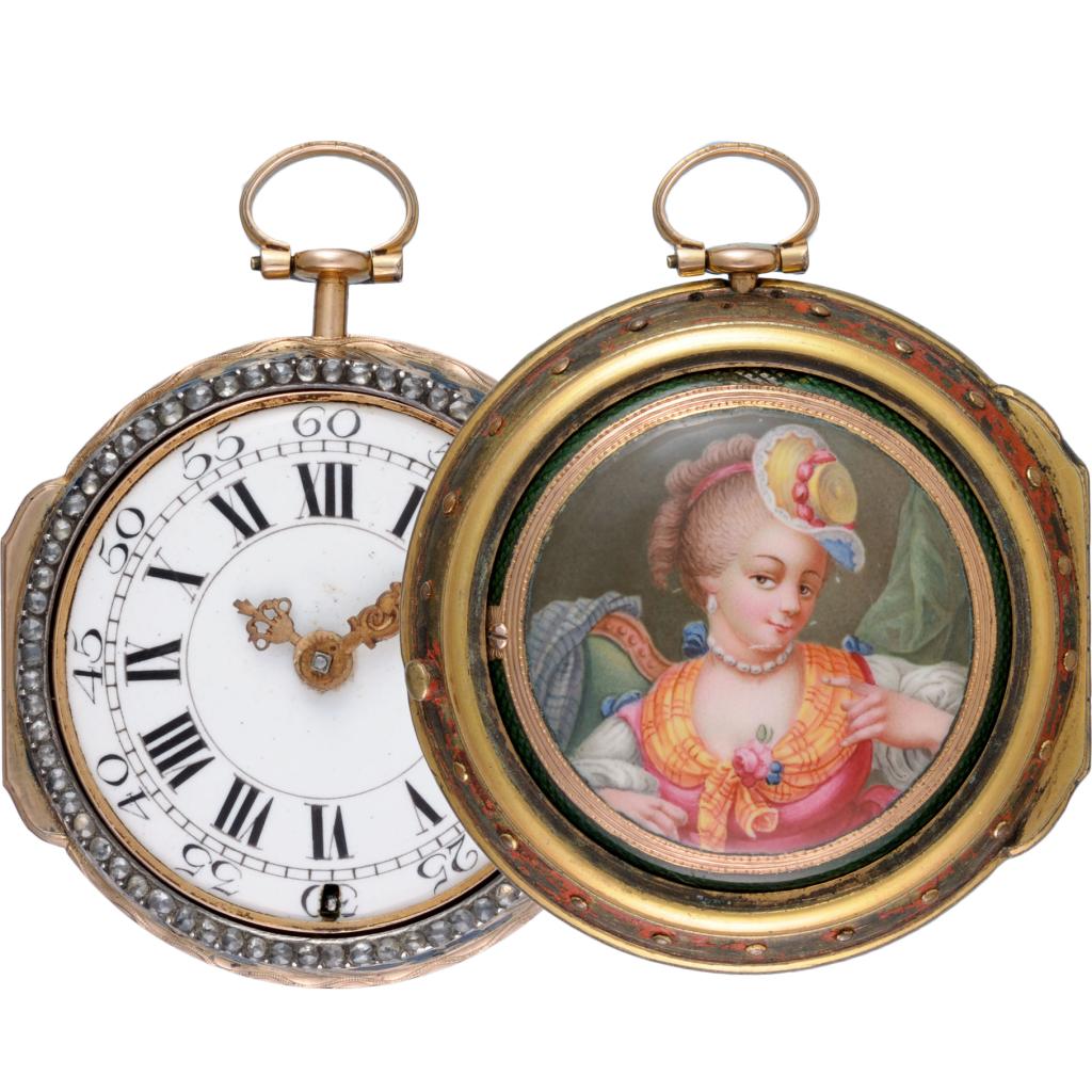 Fickur i guld med porträtt i emalj på baksidan. Frankrike, 1780.
