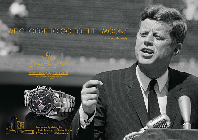 Omega Speedmaster Moon watch ad campaign featuring John F. Kennedy