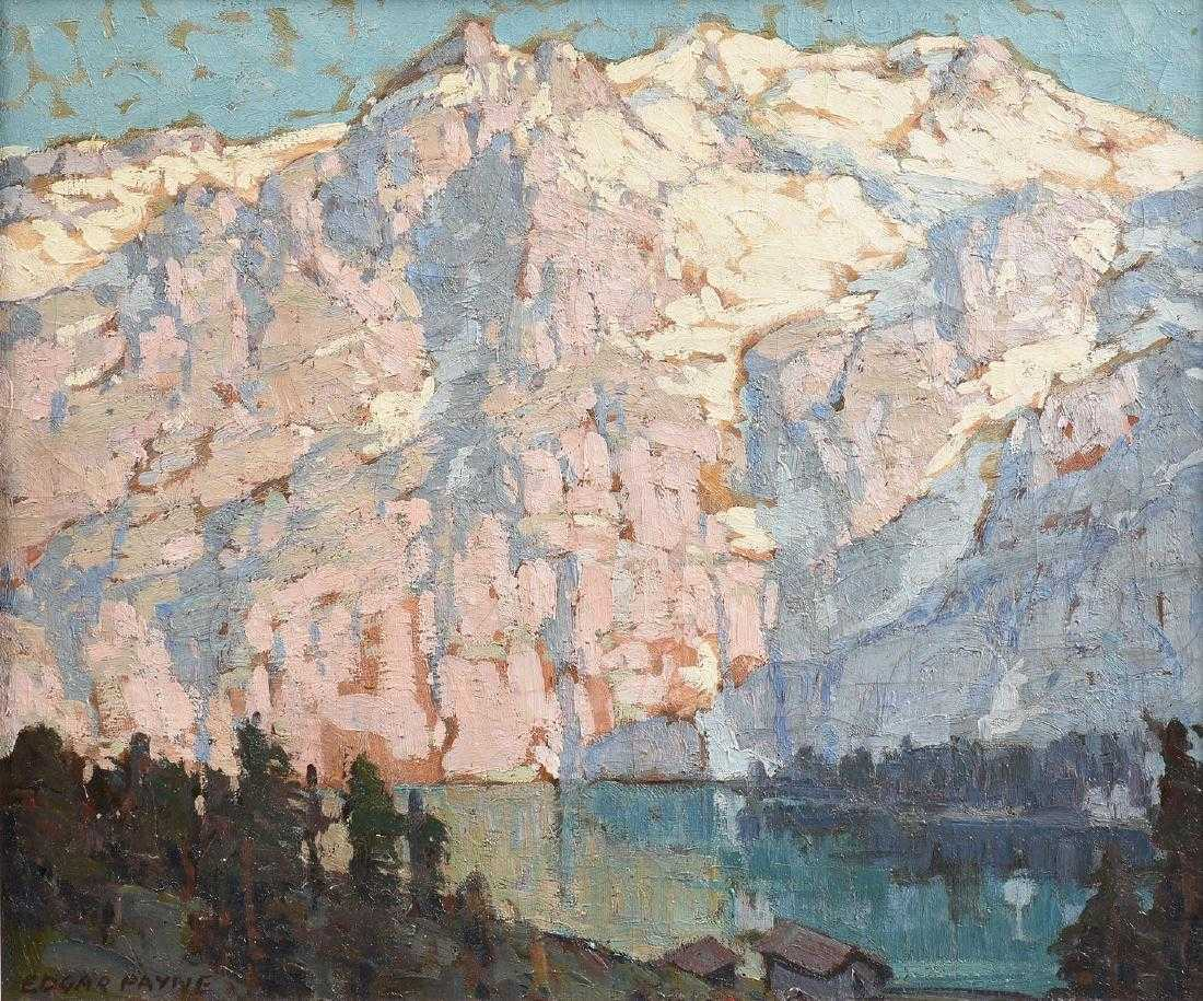 Edgard Payne, 'Pink and Violet Mountains with Lake Front Houses'. Photo: Simpson Galleries