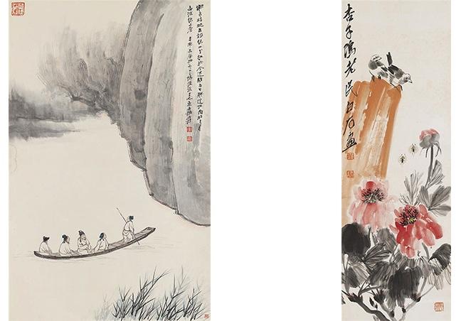 Links: ZHANG Damian (1899-1983) - Fahrt zur Roten Wand, Hängerolle, Tusche u. Farben/Papier, signiert Rechts: Qi Baishi (1864-1957) - Vogelpaar auf Felsen an blühendem Aprikosenbaum, Tusche u. Farben/Papier, signiert