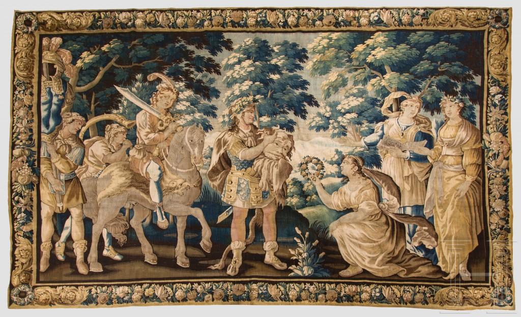 """Bedeutende Barock-Tapisserie """"Davids Triumph"""", flämisch, Mitte 17. Jhdt."""
