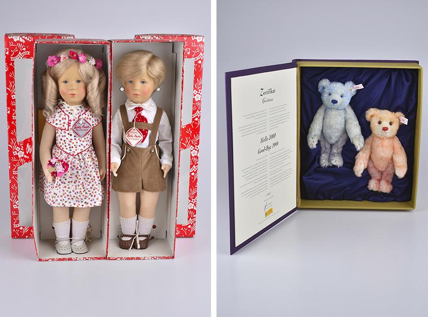 Links: KÄTHE KRUSE Jubiläumspaar Friedbald und Ilsebill, 1986 Rechts: STEIFF Set Hello 2000 Good-Bye 1999 | Fotos: Alino