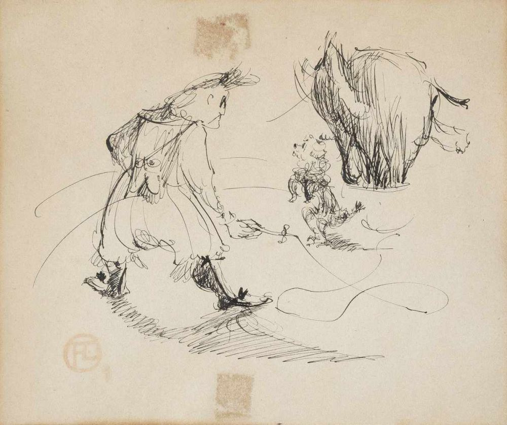 HENRI DE TOULOUSE-LAUTREC (1864 Albi - 1901 Schloss Malromé, Gironde) - Im Zirkus - Die Hundedressur, Tuschfederzeichnung/Papier, Signaturstempel