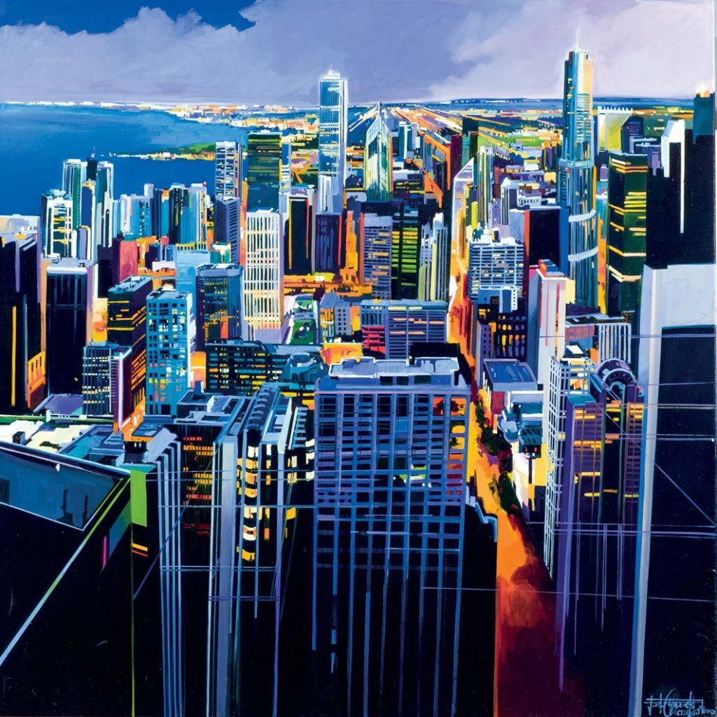 JOSEP FRANCÉS (1959 Alzira) - Chicago III, huile sur toile