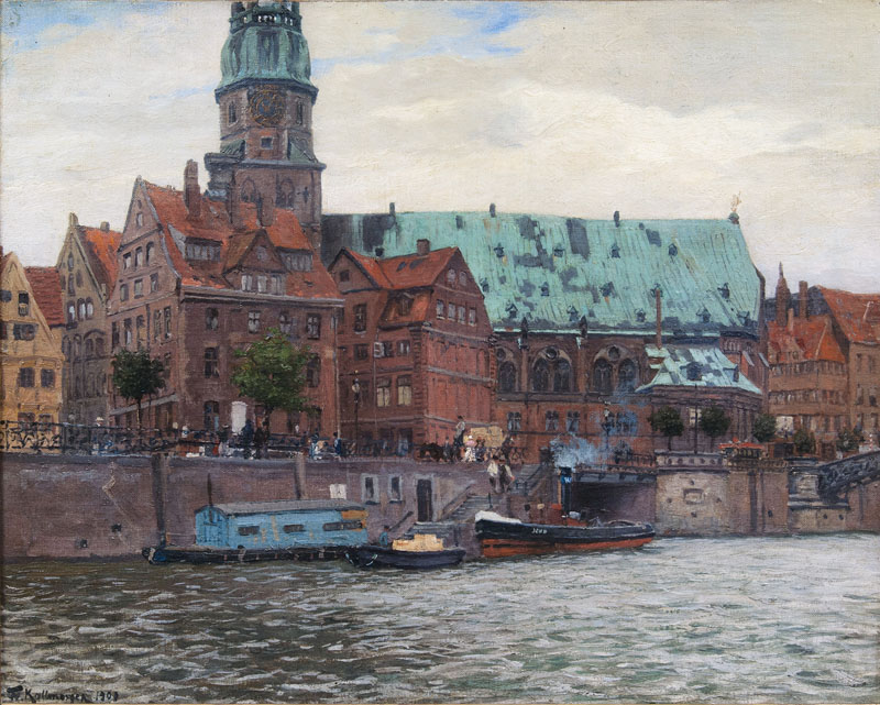 FRIEDRICH KALLMORGEN (1856 Altona - 1924 Grötzingen) - Katharinenkirche in Hamburg, Öl/Lwd., signiert und datiert, 1901