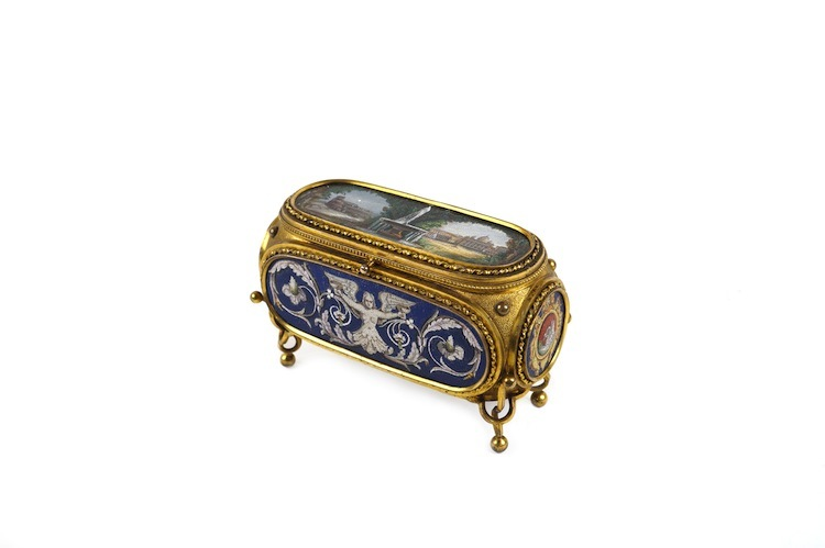 An Italian box in micro-mosaic and plated metal from Rome, late 19th century, with the original casing from Cesare Salandri Mosaicista Rome has an estimate of $10,850-$14,100.