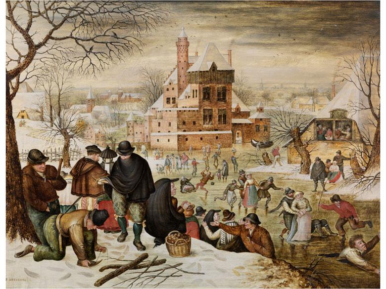 PIETER BRUEGHEL D.J. (um 1564 Brüssel – 1637 Antwerpen) - Winterlandschaft mit Eisvergnügen auf dem Schlossteich, Öl/Holz, signiert