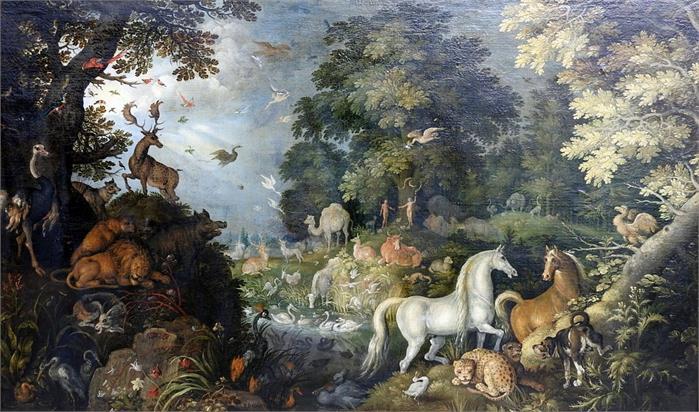ROELANT SAVERY (1576/78 Kortrijk - 1639 Utrecht) - Paradies, Öl/Lwd., signiert und datiert, 1625