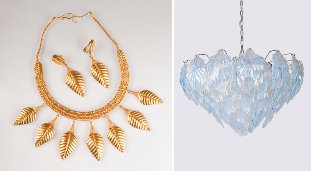 Links: ILIAS LALAOUNIS - Collier mit Ohrringen im mykenischen Stil, Gelbgold, um 1980 Rechts: Deckenleuchter mit Blättern aus irisierenden Murano-Glas, Italien, Murano 1980er Jahre