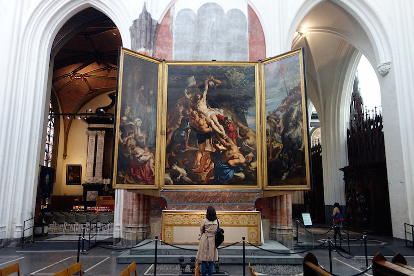 Sir Peter Paul Rubens, 'The Raising of the Cross' in the Cathedral of our Lady in Antwerp. Photo: Smarthistory