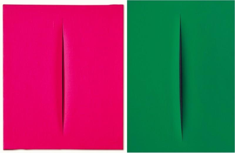 """Vänster: Lucio Fontana, """"Attesa"""" 1964-65. Höger: Lucio Fontana, """"Attesa"""" 1968. Foton: Dorotheum."""