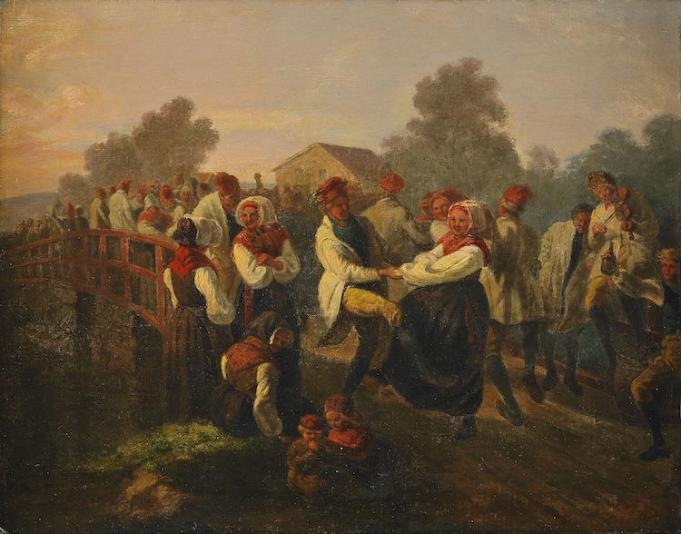 """Josef Wilhelm Wallanders """"Frieridansen på Floda-Bron (Dalarne)"""" målad kring 1858 är en oerhört tidstypisk målning från en tid då man med stolthet romantiserade över den svenska landsbygden. Midsommarfirandet som var en särskilt stark tradition i Dalarna firas av hela familjen med dans, sång, musik och, för somliga i familjen med sprit"""