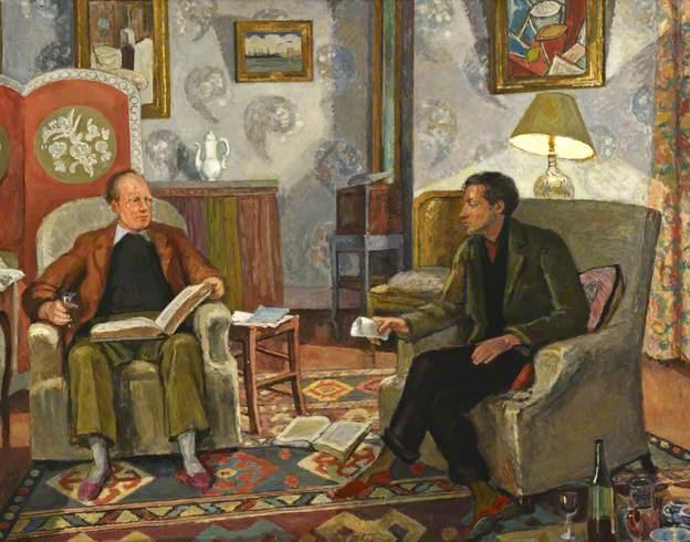 Interiörscen – Clive Bell och Duncan Grant dricker vin. Målning av Vanessa Bell. Bild: Birkbeck, University of London