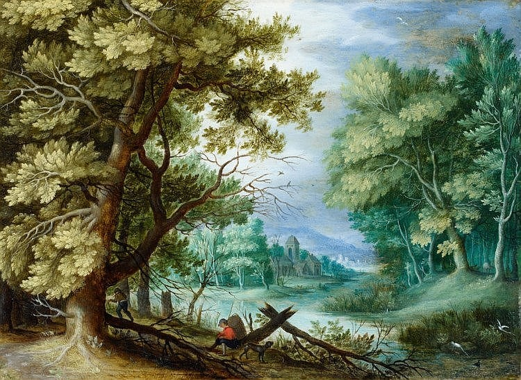 JAN BRUEGHEL THE ELDER (1568 Brussels-1625 Antwerp) - Forest Landscape with Ramblers, oil on copper, 16.5 x 22.5 cm, 1600 Estimate: 200 000-250 000 EUR
