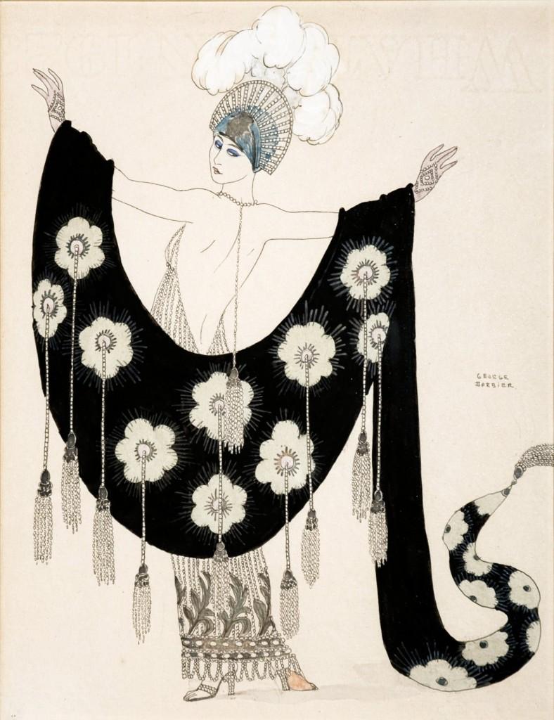 GEORGE BARBIER - Modezeichnung, Bleistift, Tinte, Wasserfarbe, Tempera auf Papier, signiert, 1920er Jahre Schätzpreis: 1.600-3.500 EUR
