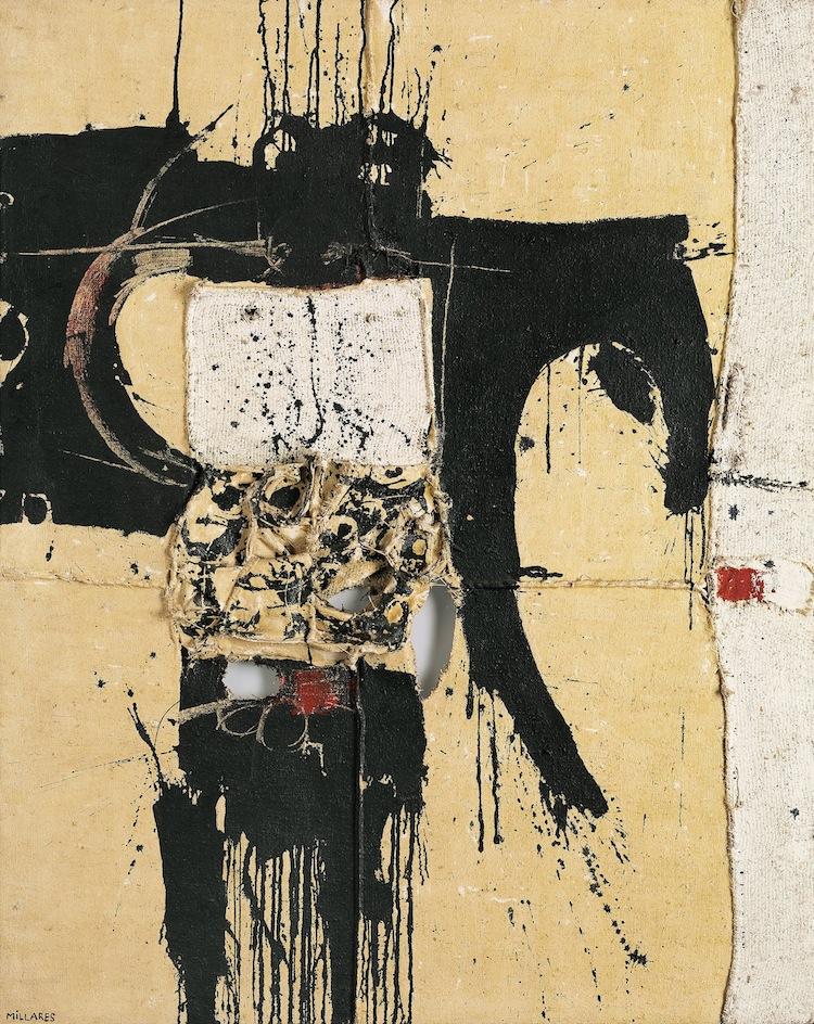 """Ett annat internationellt dragplåster, tillika auktionens högst ropade föremål är en stor målning av den spanske konstnären Manolo Millarés. """"Cuadro 51"""" ställdes ut hos Daniel Cordier i Paris 1961 och förvärvades sannolikt just på denna utställning av Mr och Mrs Morton G Neumann som är kända som som några av Chicagos största konstsamlare genom tiderna. Morton G Neumann var en framgångsrik industrialist som tillsammans med sin fru Rose började samla konst på 1940-talet efter en resa till Europa. Med passion och goda relationer till tidens främsta gallerister Pierre Matisse, Daniel Cordier, Henry Kahnweiler och Sidney Janis inköpte dom samtida konst och besökte i Europa konstnärer som Pablo Picasso, Fernand Léger och Man Ray där konstverk förvärvades. Med åren involverades deras barn i konstsamlandet och en familjetradition skapades som kom att verka i tre generationer. Moderna verk av Rothko, Rauschenberg, Warhol, Lichtenstein, Basquiat och Koons införlivades vartefter i samlingen. Mr och Mrs Neumann såg aldrig sig själva som """"samlare"""", för dom var det ett sätt att leva tillsammans med sina barn, vänner, konsthandlare och konstnärer. Generöst lånade dom alltid ut konst till museum och institutioner framförallt till National Gallery of Art i Washington och till The Art Institute of Chicago. 1985 dör Morton G Neumann, 87 år gammal. Den omfattande konstsamlingen går i arv till barnen som säljer delar av samlingen för att finansiera arvskatten. Bl a säljs Manolo Millares """"Cuadro 51"""" den 2 maj 1985 på Christie's """"Sale Shaler"""" i New York. Konstverket har därefter ingått i en betydande europeisk samling."""
