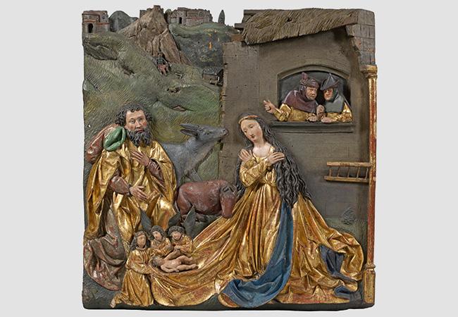 JÖRG GARTNER (Tätig um 1505 bis nach 1530 in Passau) - Hoch-Relief mit der Geburt Christi, Lindenholz