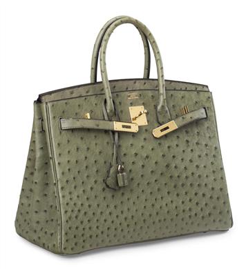Hermès Birkin Bag 2000 i strutsskinn. Fast pris: 35,000 USD Christie's Online shop