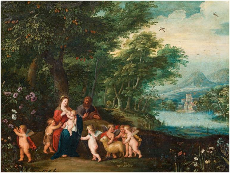 JAN BRUEGHEL D. J. (Antwerpen 1601-1678 Antwerpen) - Heilige Familie mit Johannes und Engeln, Öl/Kupfer/Holz, 51,5 × 65,5 cm, 1640er Jahre Schätzpreis: 35.000-70.000 EUR