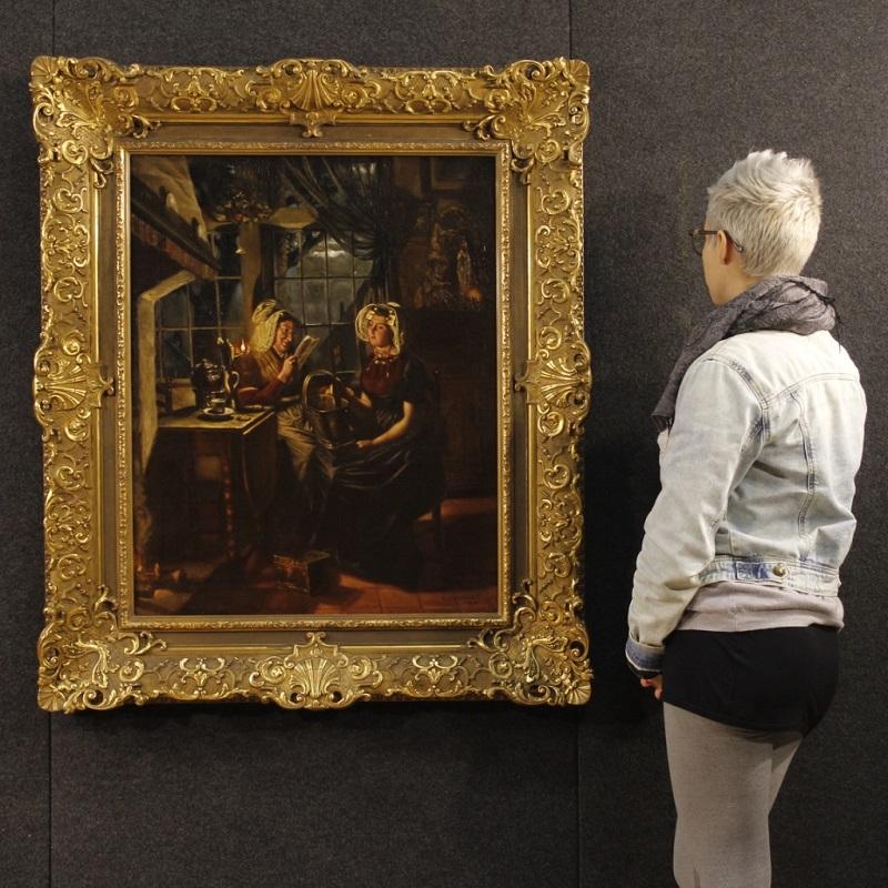 Pintura holandesa que representa una escena interior con luz de velas (siglo XX)