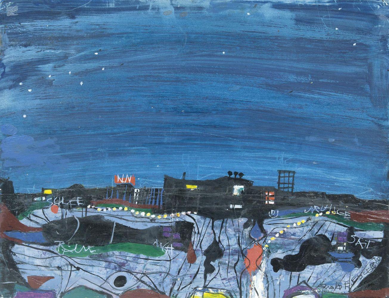 Arnold Fiedler (1900 Hamburg 1985), Nun schlafe und träume auch Du, unruhige Stadt, Mischtechnik/Karton, signiert und datiert, 1970
