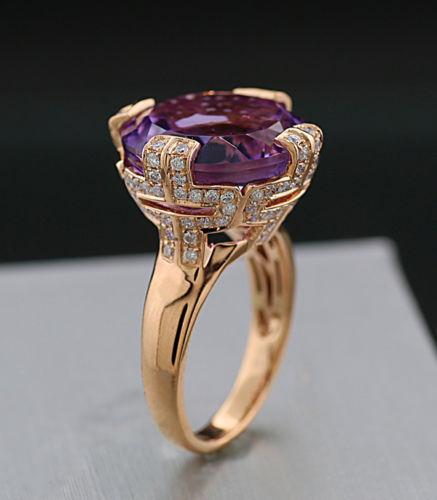 Ring med ametist och briljanter, ca 14,60 karat. Rött guld. Utropspris: 18 500 Sek. Catawiki