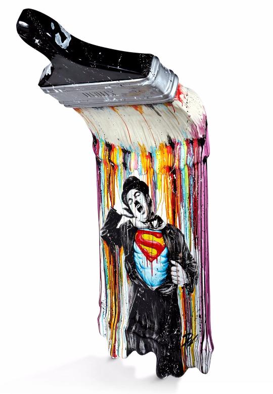 Julien DURIX (né en 1991) Le pinceau Importante sculpture en résine et acrylique