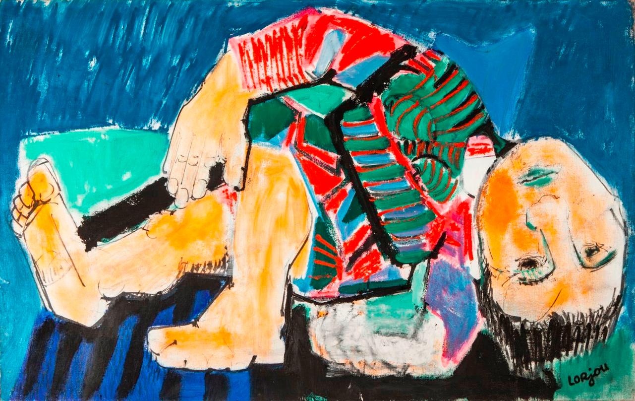 Bernard LORJOU (1908-1986)- Le contorsioniste, Grande huile sur toile signée