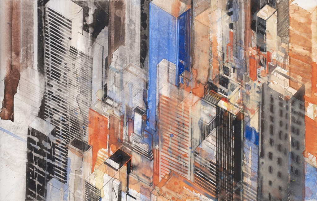 « New-York Diagonal », aquarelle sur papier, 30x47cm - 2005