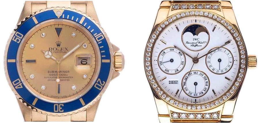 Links: ROLEX Submariner Date Sertie, Gelbgold, Diamaten, Saphire, 1991 Rechts: IWC Quantime Perpetual Ewiger Kalender, Gelbgold, Diamanten, 1990