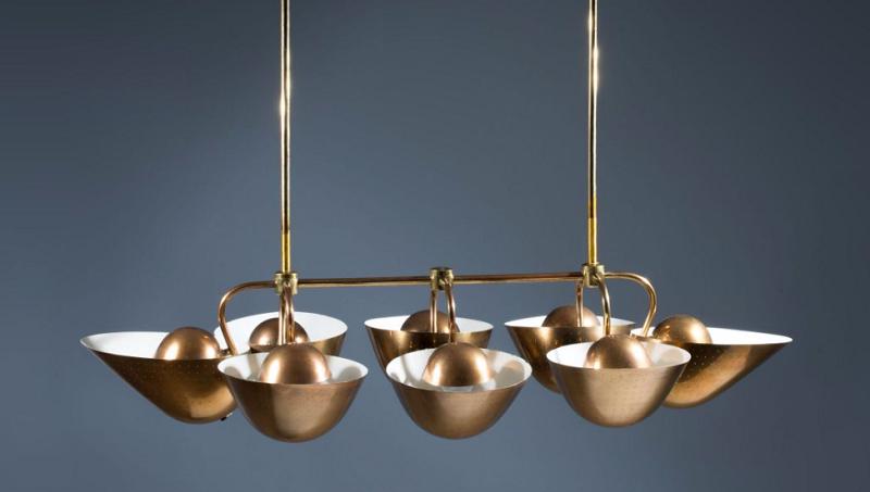 Carl-Axel Acking. Lámpara de ocho reflectores en suspensión © Artcurial
